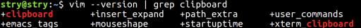 vimでのクリップボード使用可否確認